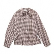 gingham check ribbon blouse