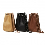 Waterproof Leather Drawstring Bag Small