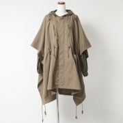 WOOL GABARDINE PONCHO LAYERED COAT