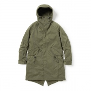 STRANGER HOODED COAT POLY TWILL STRETCH OVERDYED