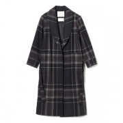 MELTON TARTAN CHECK LONG COAT