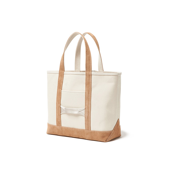 Cotton Canvas Tote Bag M with Cow Suede