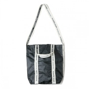 sail cloth logo tape shoulder bag(BLACK)