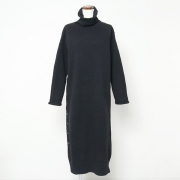 cotton high neck knitting dress