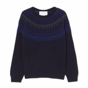 ROUND YOKE JACQUARD ROUND NECK KNIT