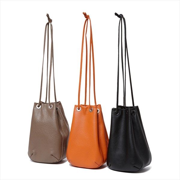 Shrink Leather Drawstring Bag SMALL