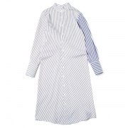typewriter stripe bias shirt dress