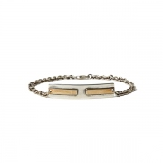 925 Silver Plate Chain Bracelet with H Brass Plate